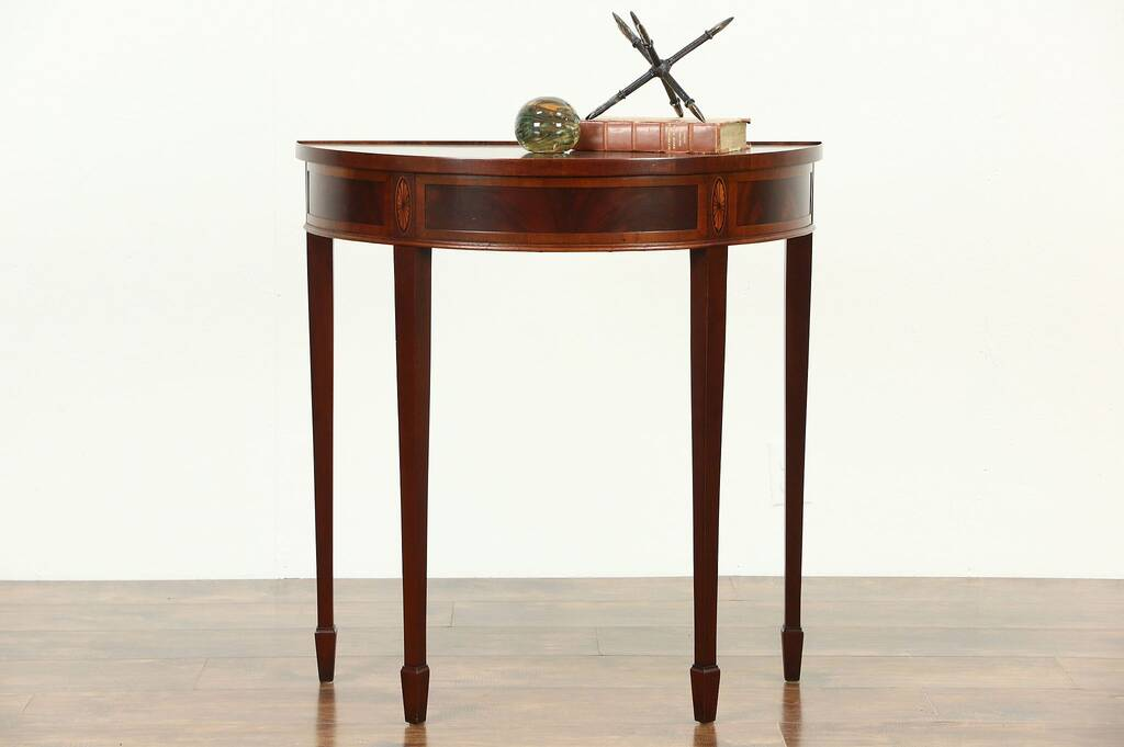 Sold Hekman Signed Marquetry Demilune Vintage Console