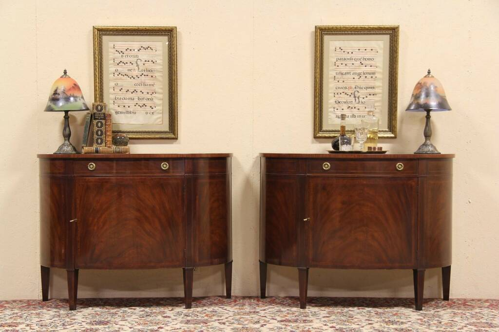 Demilune Entry Table SOLD - Pair Baker Demilune Console Cabinets - Harp Gallery Antique ...