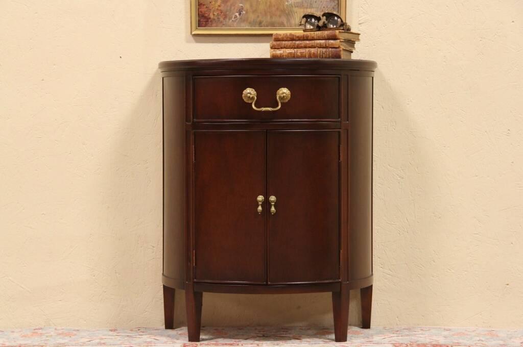Sold Traditional Mahogany Demilune Half Round Console