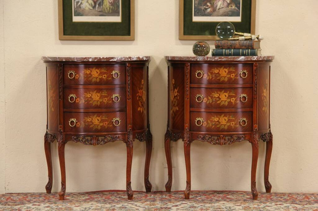 Sold Pair Of Marble Top Demilune Console Cabinets