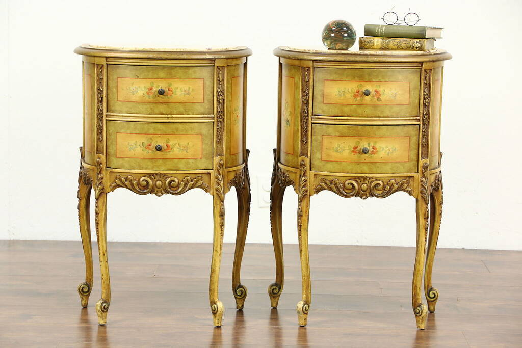 Sold Pair Of Marble Top 1930 S Vintage Hand Painted End