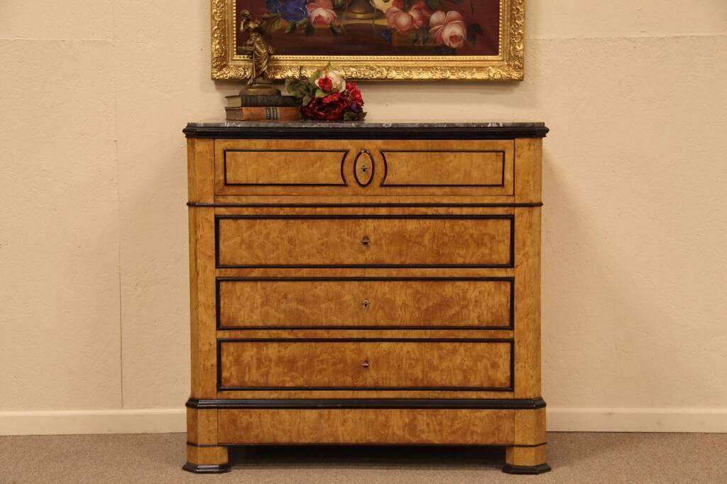 Sold Birdseye Maple Ebony Secretary Desk Marble Harp Gallery Antique Furniture