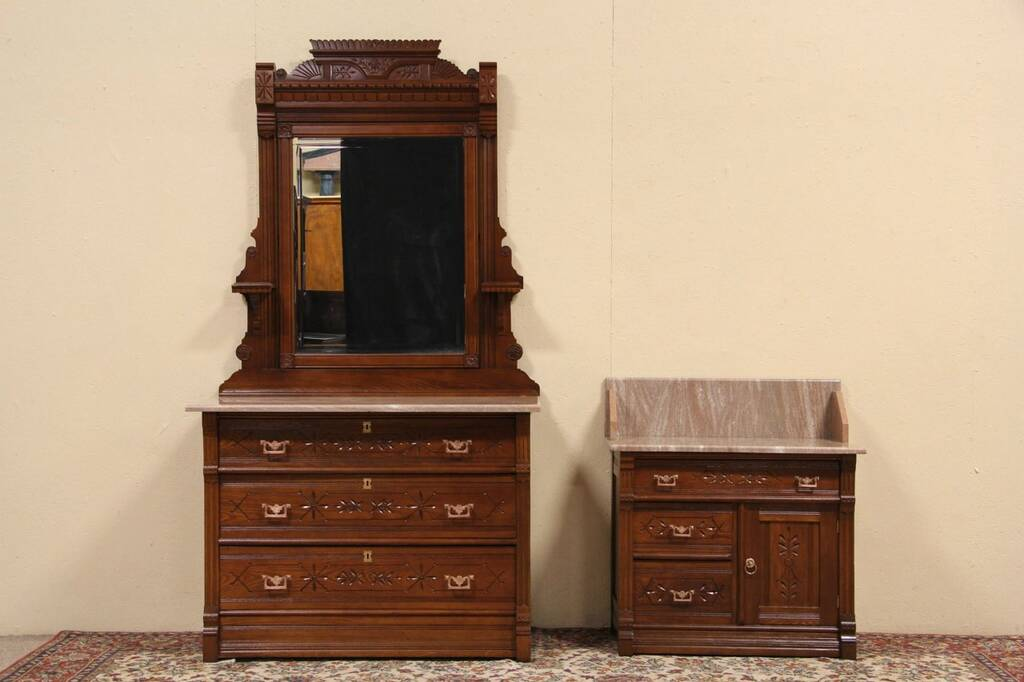 set of 2 eastlake 1880 antique ash marble top bedroom