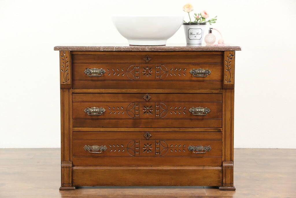 Victorian Eastlake Cherry Antique 1890 Chest Or Dresser