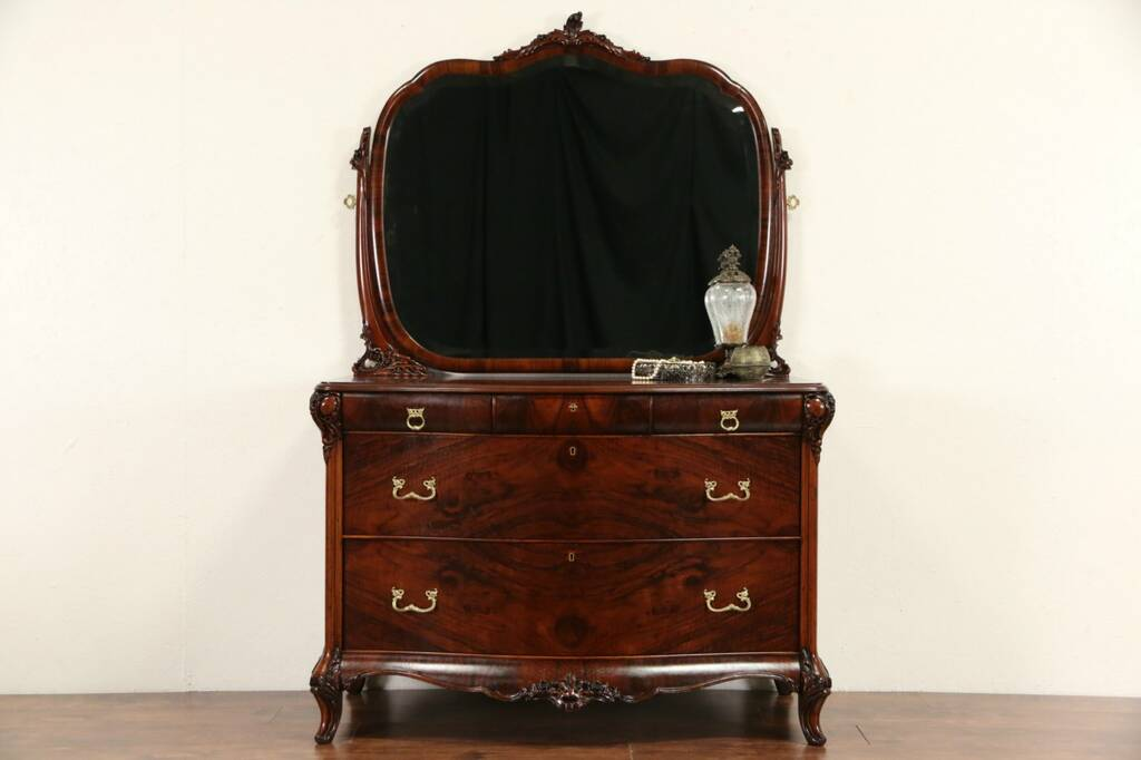 Sold Dresser Or Chest Amp Beveled Mirror 1920 S Carved