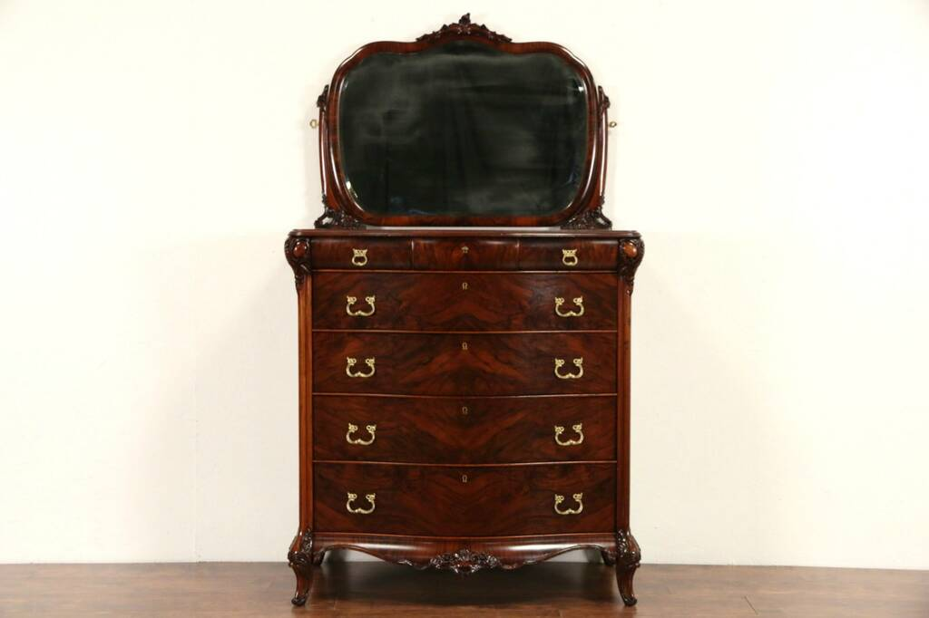 Sold Tall Chest Or Highboy W Mirror 1920 S Carved