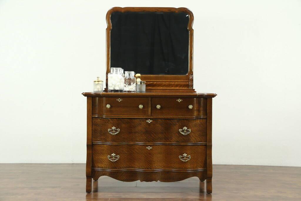 Victorian Antique 1900 Oak Chest Or Dresser Beveled