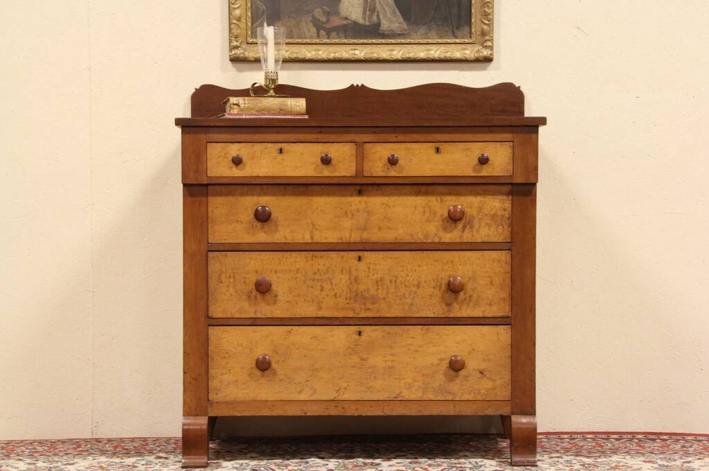 Sold New England Cherry Amp Curly Maple Chest Or Dresser