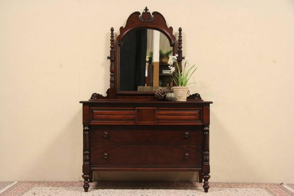 Sold Sligh 1925 English Tudor Dresser Or Chest Mirror Harp Gallery Antique Furniture