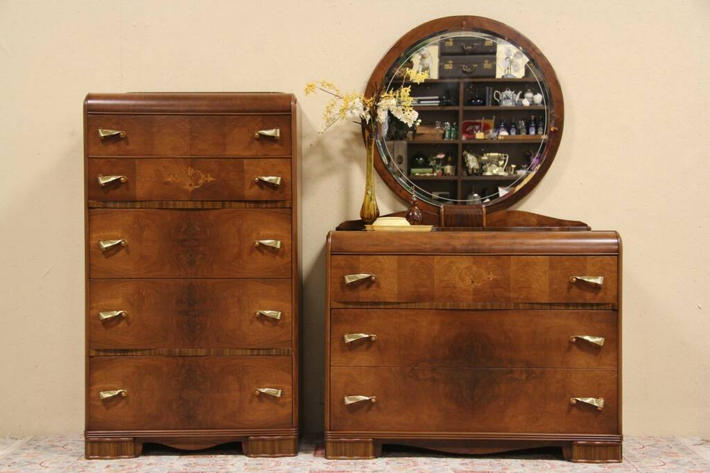 Sold Art Deco 1940 Waterfall Dresser Amp Tall Chest