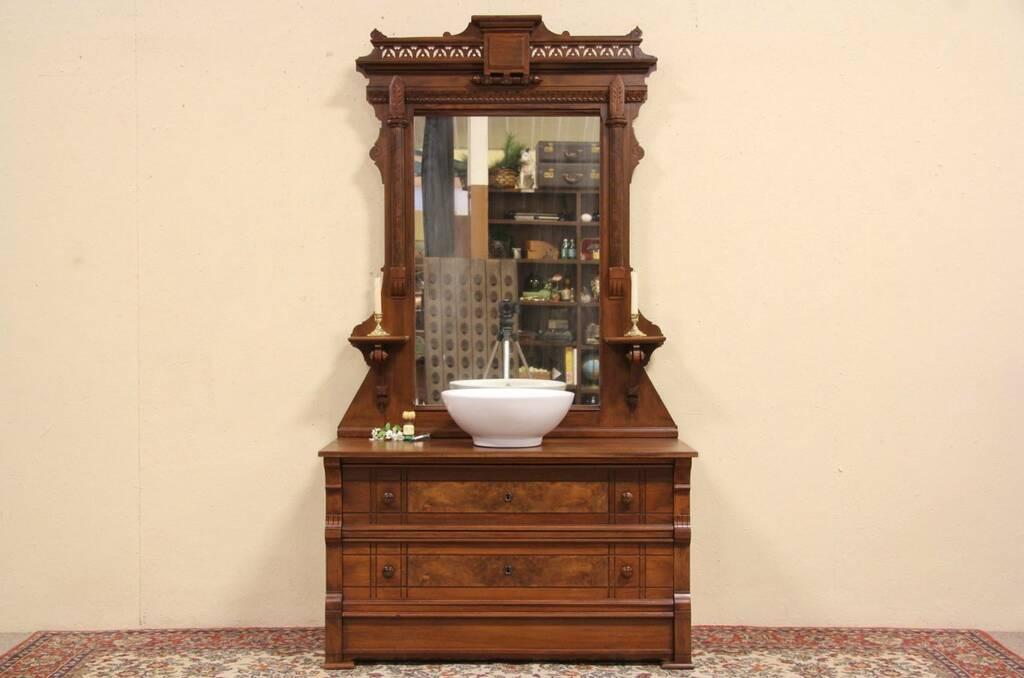 Victorian 1880 antique dresser or vessel sink vanity secret drawer mirror for Antique dresser bathroom vanity
