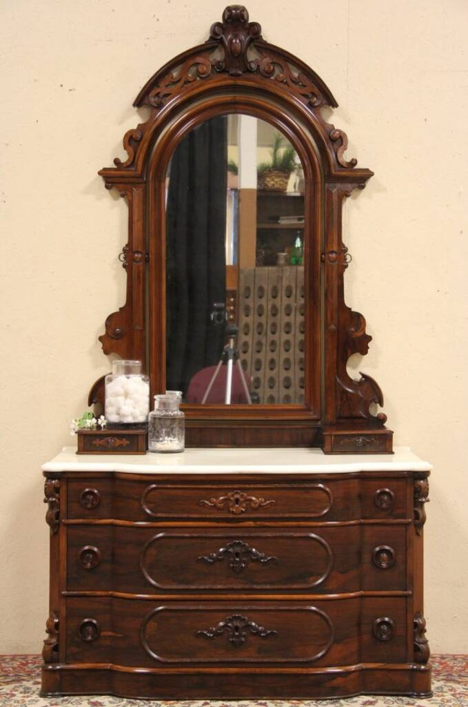 Sold Rosewood 1860 Antique Marble Top Dresser Chest Or