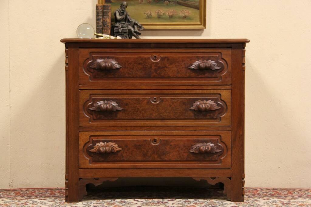 Sold Victorian 1875 Antique Chest Or Dresser Carved