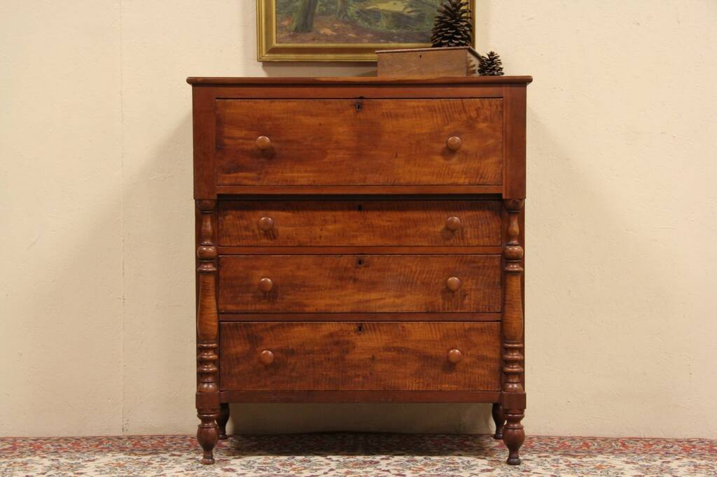 Sold Cherry Amp Tiger Maple 1840 Antique Empire Chest Or