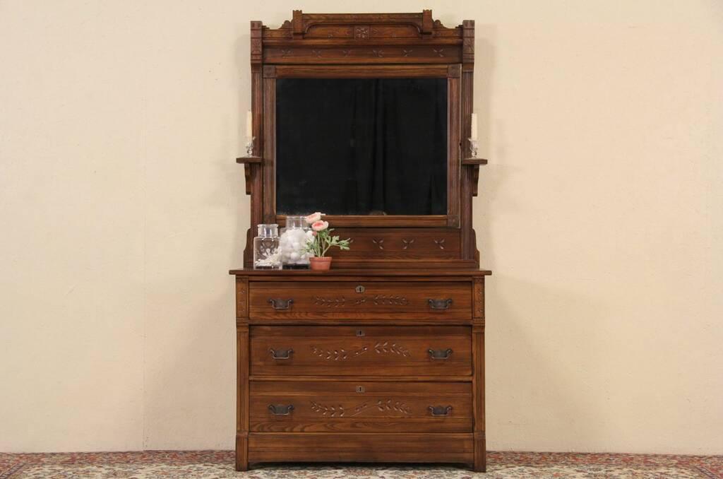 Sold Victorian Eastlake 1885 Antique Oak Dresser Or