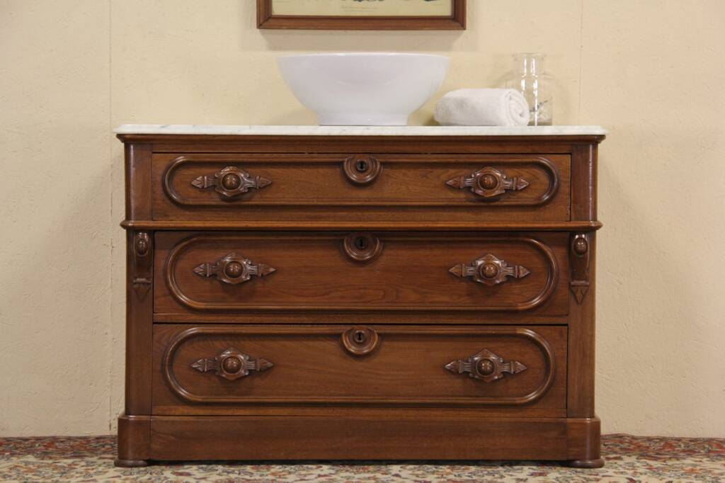 Sold Victorian 1870 Marble Top Chest Or Dresser Secret