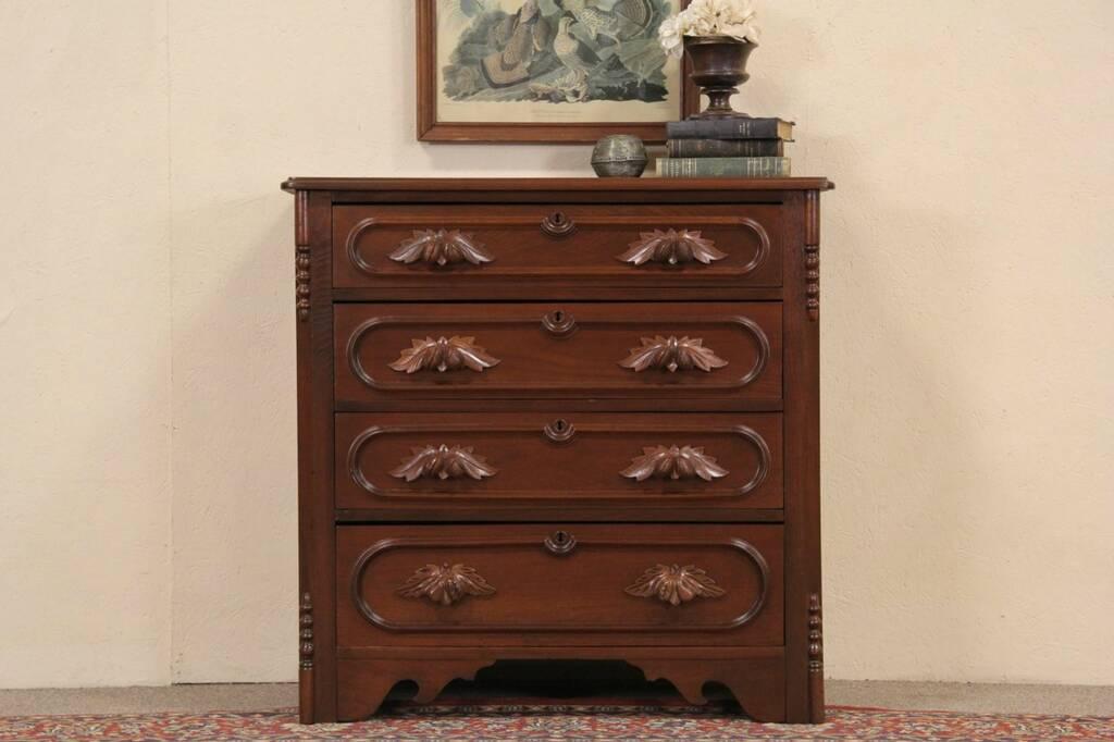 Sold Victorian 1860 S Antique Chest Or Dresser Walnut