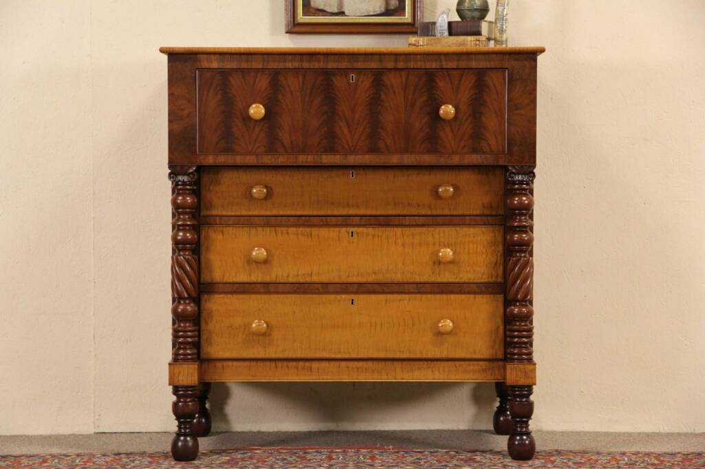 Sold New England Empire 1825 Antique Tiger Curly Maple