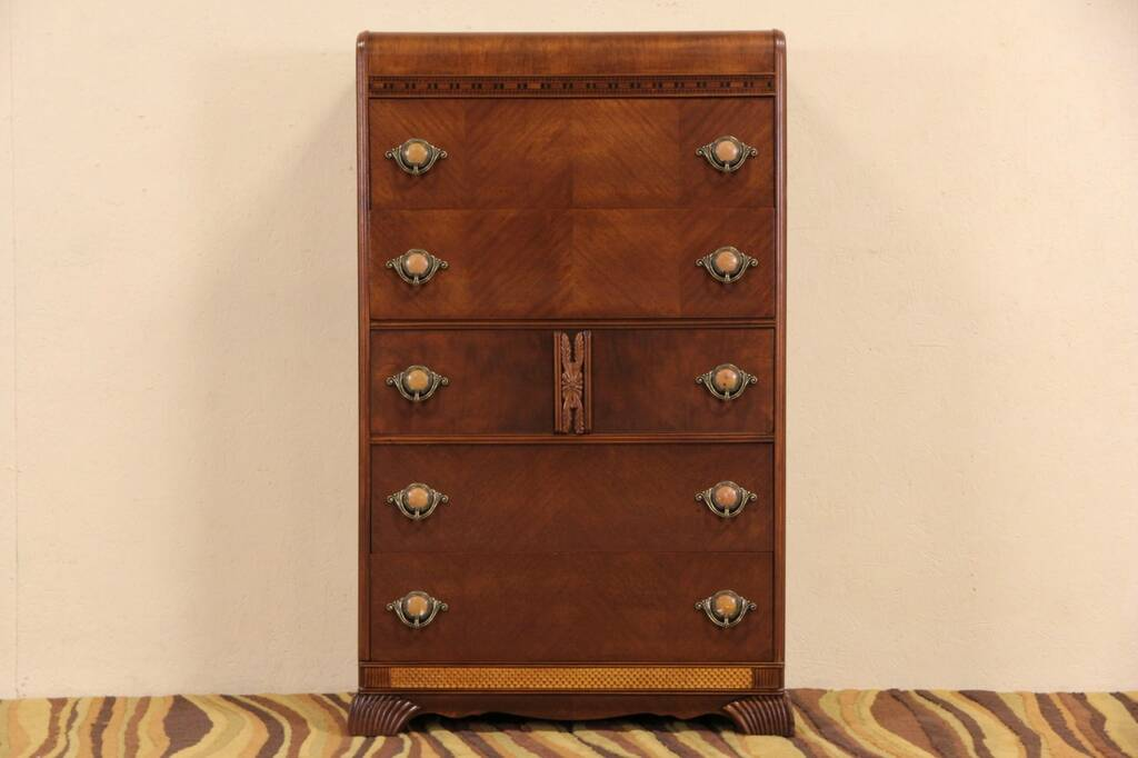 Sold Art Deco Waterfall 1930 S Vintage Tall Chest Or