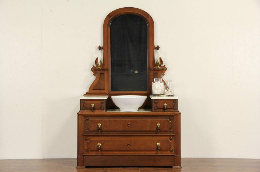 Sold Victorian 1870 Antique Marble Top Dresser Or Chest