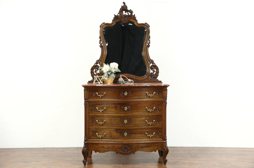 Sold French Carved Walnut 1900 Antique Chest Or Dresser