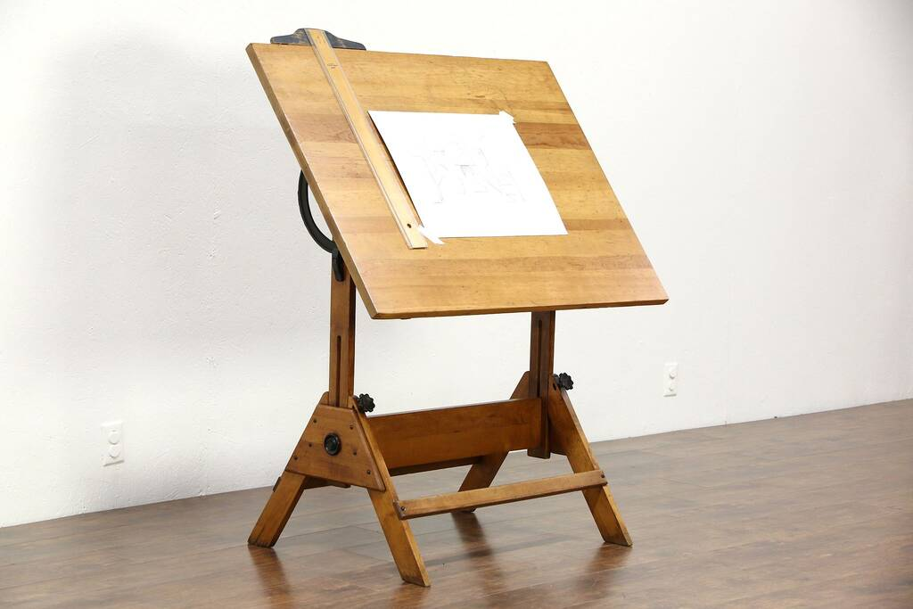Sold Drafting Table Adjustable Artist 1930 S Vintage Drawing Desk Wine Table Signed Harp