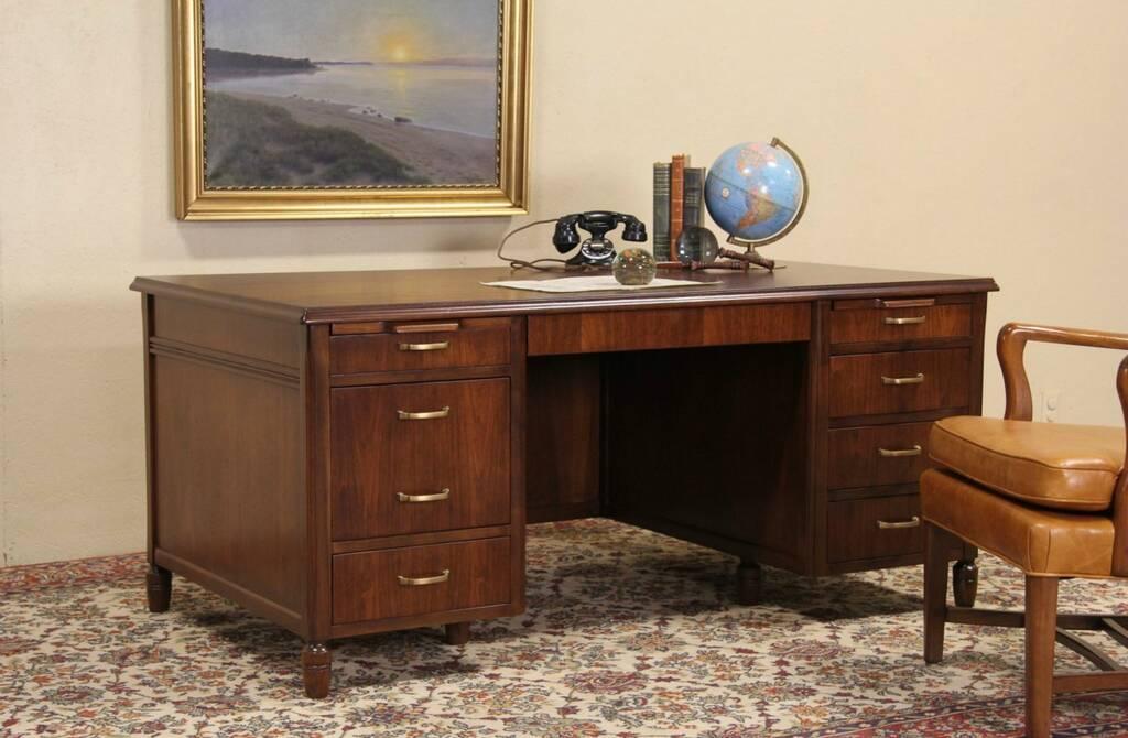 SOLD - Executive 1950 Vintage Walnut Desk, Jasper of Indiana - Harp