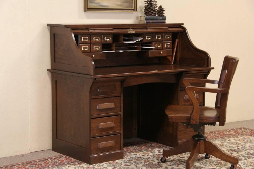 Sold Roll Top Oak 1915 Antique Desk File Drawer