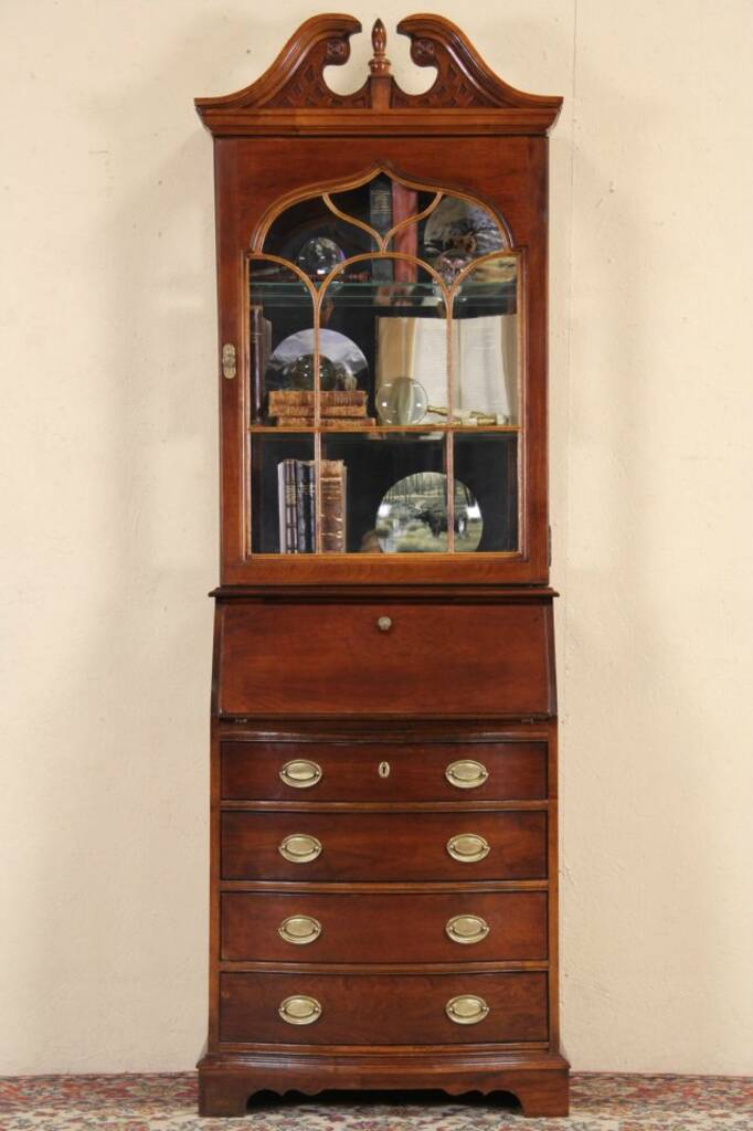 Sold Cherry Narrow Vintage Secretary Desk Amp Bookcase