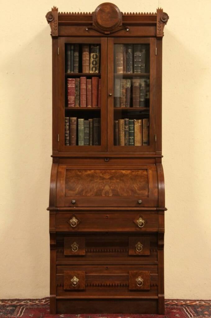 Sold Victorian Eastlake 1880 Antique Rolltop Secretary