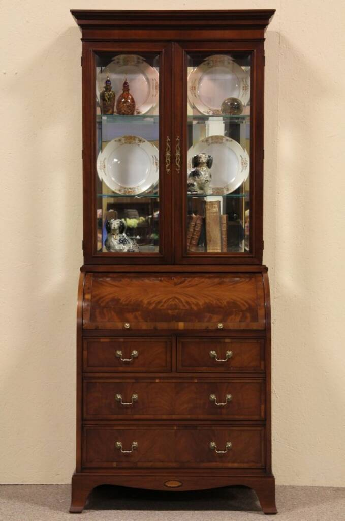 Sold Hekman Roll Top Secretary Desk Curio Cabinet