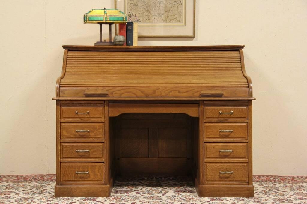 Sold Oak 1900 Antique 5 Roll Top Desk Raised Panels