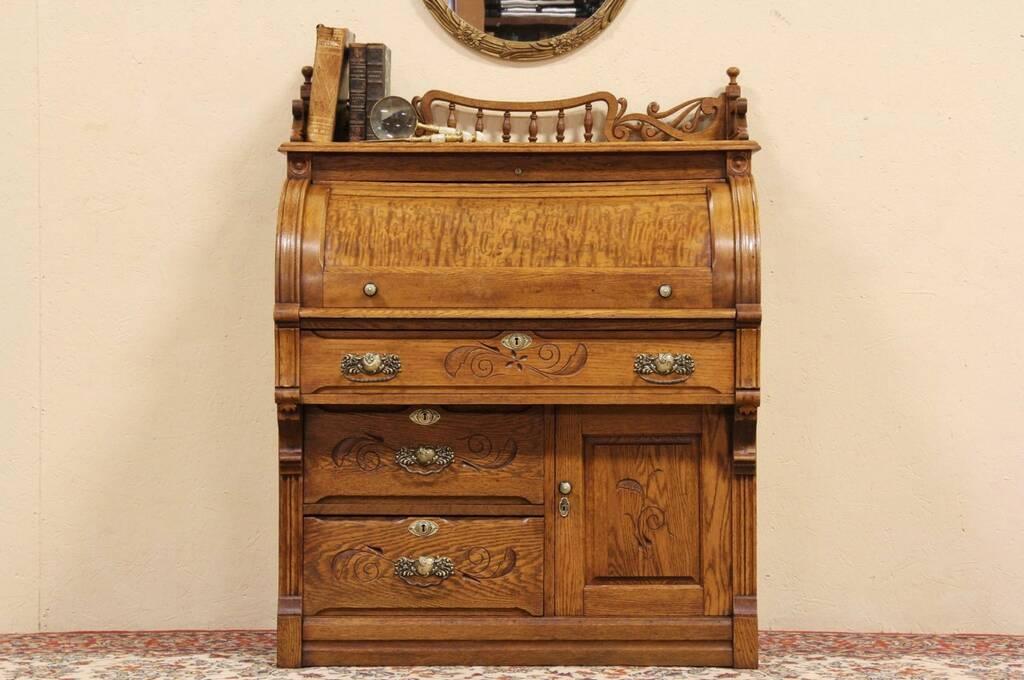 Sold Eastlake Oak Cylinder 1890 Roll Top Secretary Desk