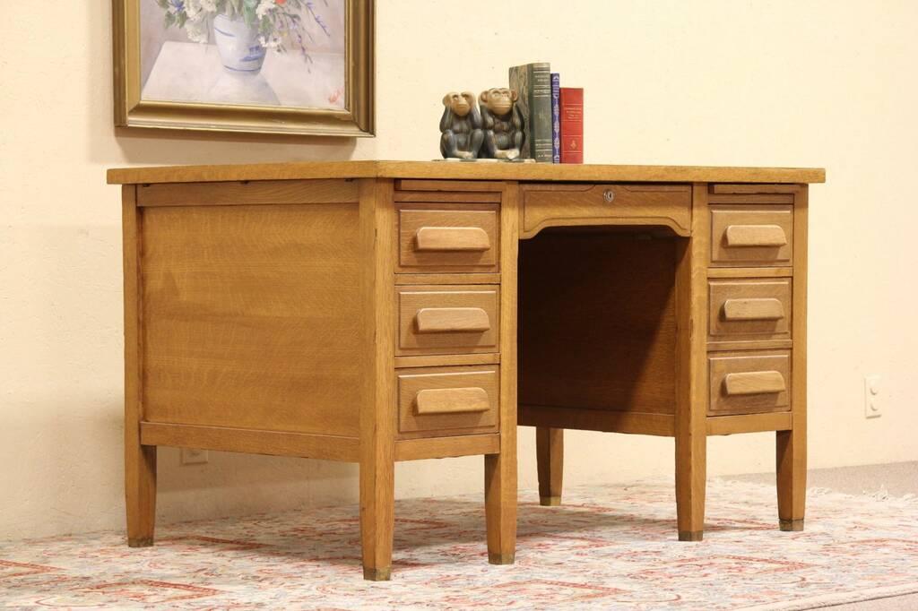 Sold Oak 1930 Teacher Desk File Drawer Brass Feet