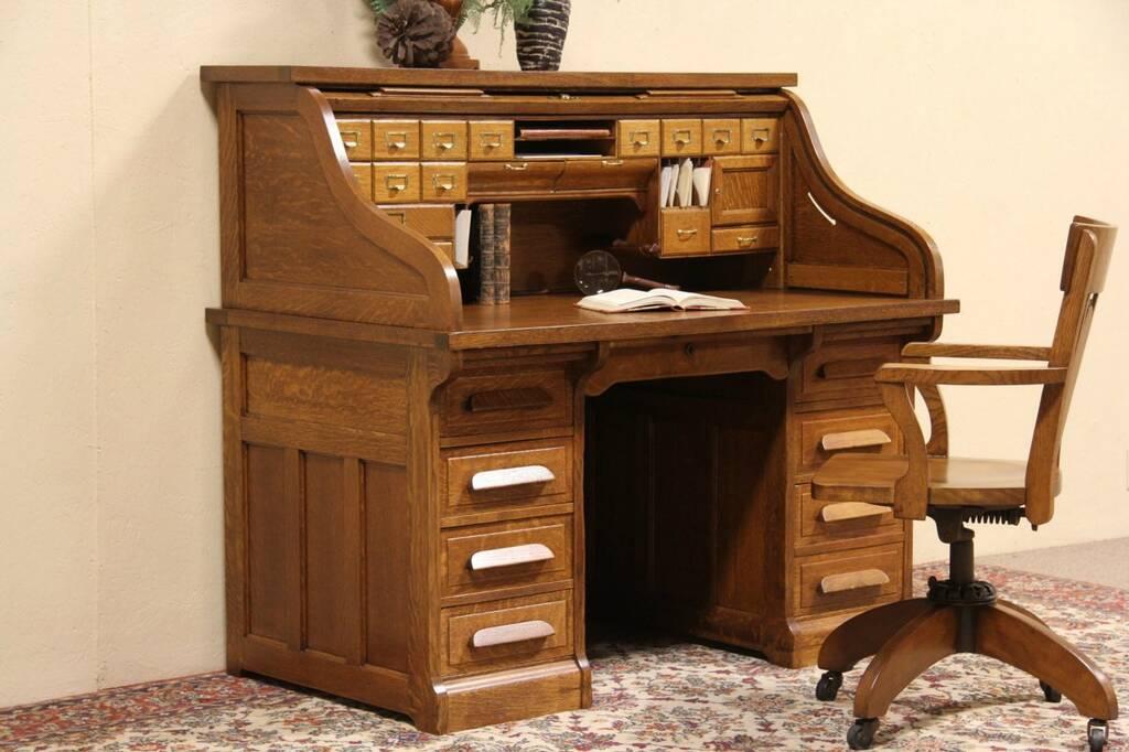 Oak 1910 Antique Paneled Roll Top Desk 25 Drawers Ebay