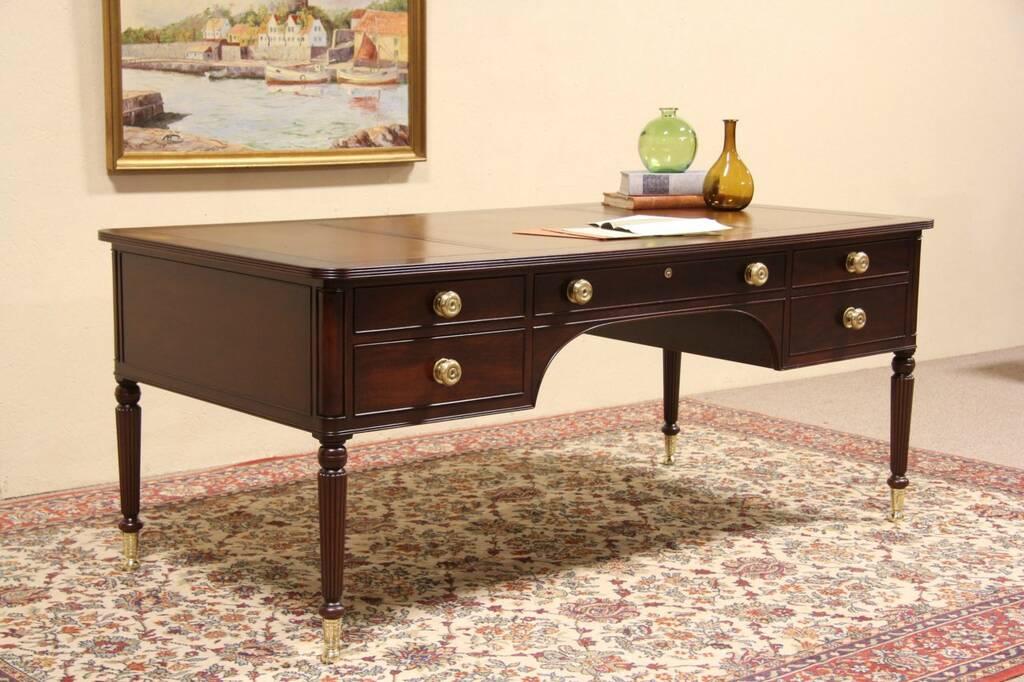 SOLD - Kittinger of NY Leather Top Vintage Mahogany Writing Desk ...