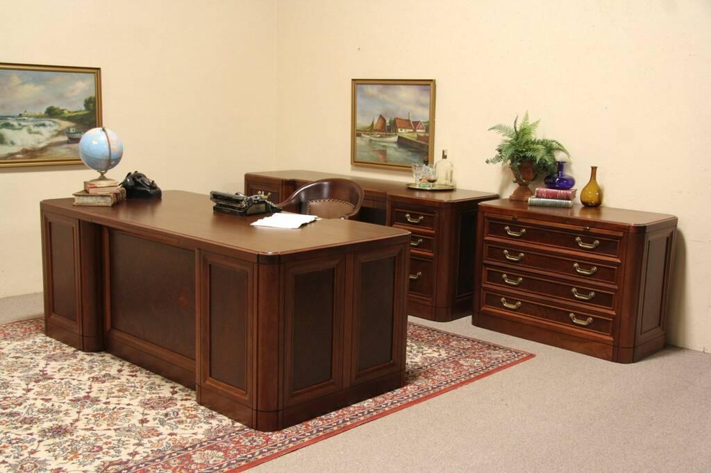 Sold Alex Stuart Vintage Mahogany Executive 3 Pc Desk