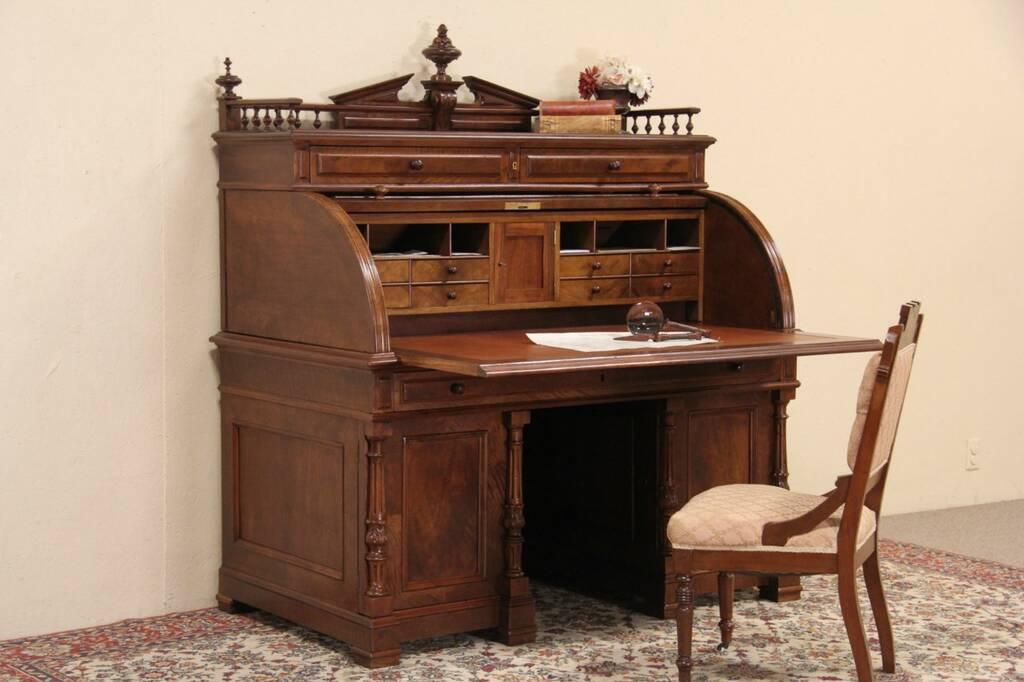 Sold German 1880 Antique Cylinder Roll Top Desk Carved