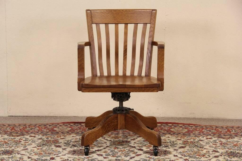 Milwaukee 1915 Antique Oak Swivel Adjustable Office Desk Chair EBay