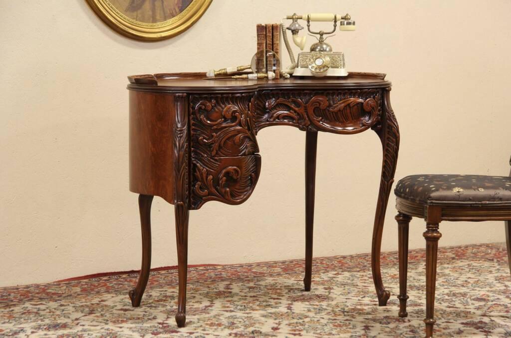 Kidney Shaped Carved 1930 039 S Writing Desk Ebay