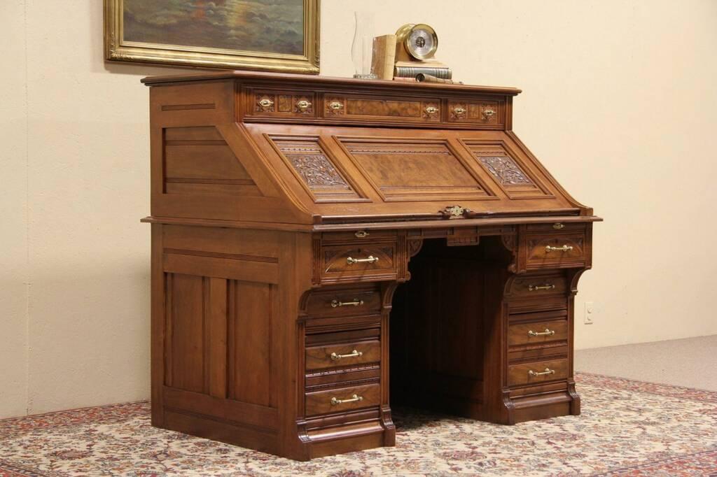 Sold Victorian Eastlake 1880 Antique Secretary Desk Sliding Top Harp Gallery Antique Furniture