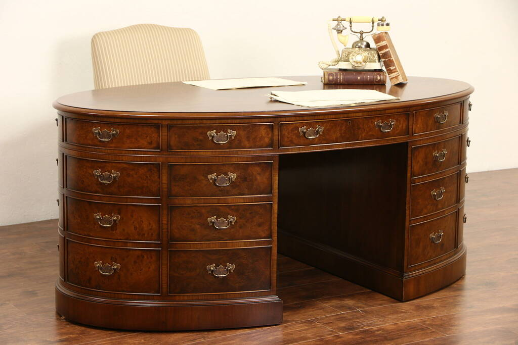 Sold Oval Walnut Burl Vintage Library Or Office Partner