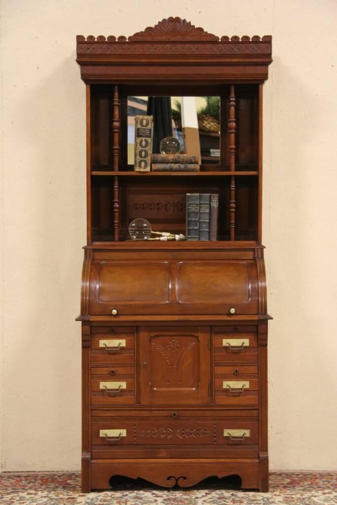 Sold Cylinder Rolltop 1880 Antique Secretary Desk