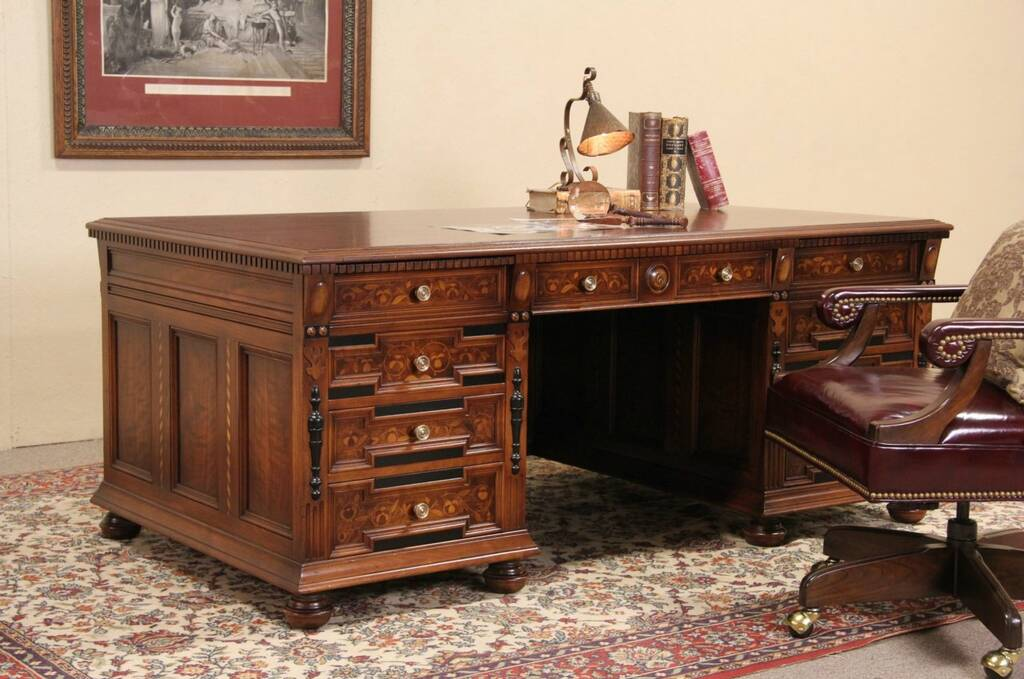 Sold Stow Davis 1920 S Executive Desk Walnut Amp Ebony