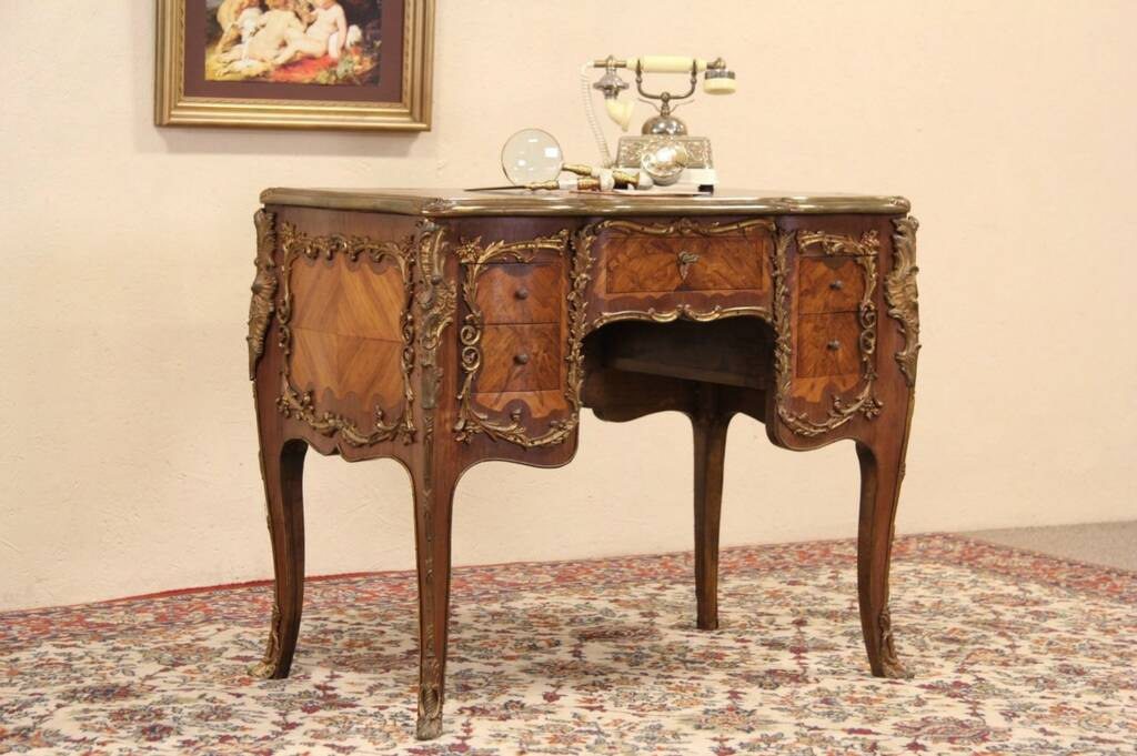 Sold french 1930 39 s marquetry salon desk bronze mounts for M salon federal hill