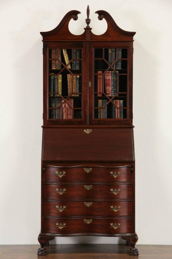 Sold Georgian 1940 Vintage Secretary Desk Amp Bookcase