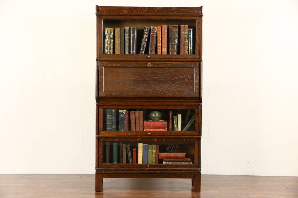 Sold Globe Wernicke 1900 Antique Oak Stacking Lawyer Bookcase Amp Desk Harp Gallery Antique
