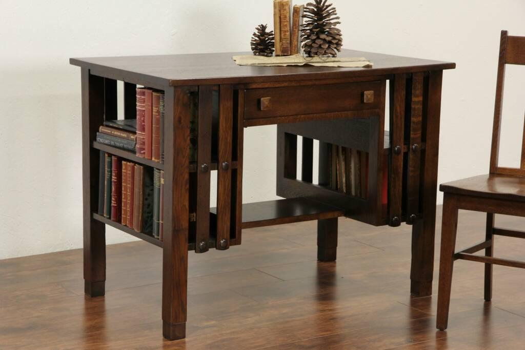 Sold Arts Amp Crafts Mission Oak Antique 1910 Writing Desk