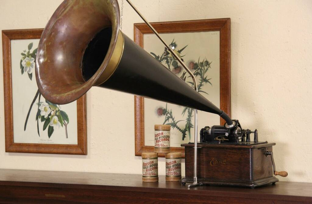 Sold Edison Cylinder Record Player Amp Horn 1910 Era Phonograph Harp Gallery Antique Furniture