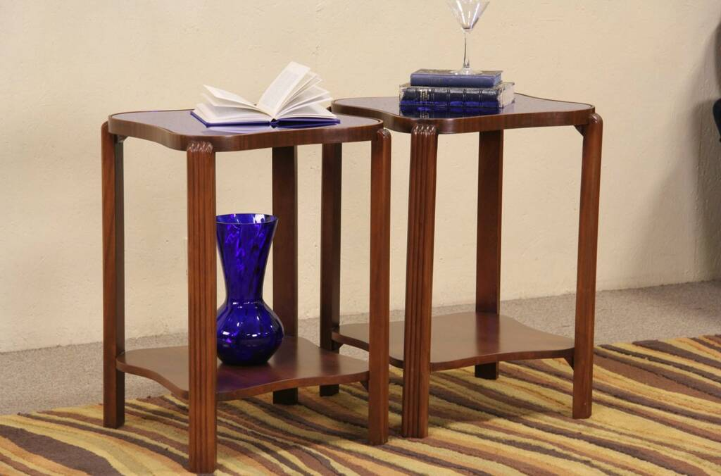 Sold Art Deco 1940 Pair Of End Tables Blue Mirrors